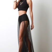 High Rise Brief Semi-Sheer Mesh Maxi Skirt