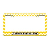 I Brake For Haters - License Plate Tag Frame - Yellow Chevrons Design