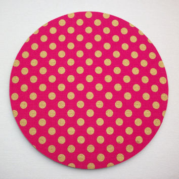 Round Computer Mouse Pad / Mat - metallic gold dots on hot pink - sds