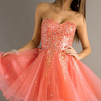 Short Strapless Prom Dress by Dave & Johnny 6916