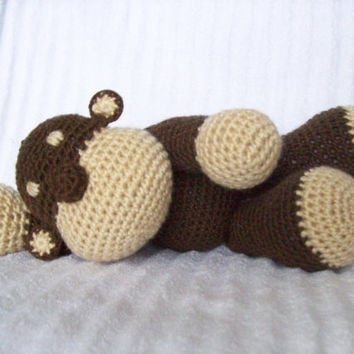 Crochet Stuffed Animal Monkey in Brown and Tan, Zoo Nursery Decor, Baby Shower Gift (MADE TO ORDER)