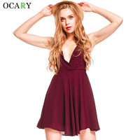 Pleated Cute Party Dresses Backless Sexy Club Dress Deep V-neck Chiffon Mini Dress Summer Robe Plus Size