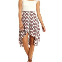 Paisley & Lace High-Low Dress by Charlotte Russe - Ivory Combo