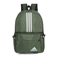 ADIDAS fashion casual men's and women's shopping bag hot seller with printed striped backpacks Green