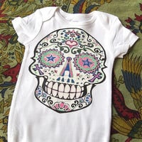 White Sugar Skull Baby Clothes. 3 6 12 18 months. Day of the Dead Girl Bodysuit. Rockabilly baby Halloween Toddler Skull Tattoo Punk Baby