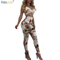 HAOYUAN Elastic Sexy Jumpsuit Ladies Backless Full Bodysuits Deep-V Floral Bodycon Combinaison Femme Rompers Womens Jumpsuit