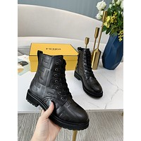 2022 Fendi FF Women's Leather Side Zip Lace-up Ankle Boots Shoes High Boot