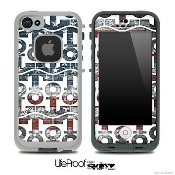White and Vintage USA Flag Chevron Anchor Collage Skin for the iPhone 5 or 4/4s LifeProof Case