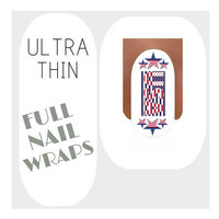 Patriotic Nail Wraps Ultra Thin Americana Nail Decals 18 July 4th Water Slide Decals Memorial Day Nail Art Tattoos