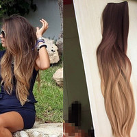 One Piece Clip in Dip dye Ombre Hair Extensions Synthetic Straight Curly Wavy (Col. dark brown to sandy blonde)