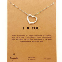 Dogeared Charm Alloy Hollow Shiny Love Heart Drop Sliver Plated Shorts Chains Clavicle Necklace
