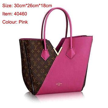 LV Hot Shoulder Bag Dark V Design Bag Rose red