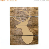 ON SALE - Deer Wall Mount Wood Pallet Sign - Indie home decor, gifts for her, pallet sign, rainbow decor, bird design, reclaimed pallet, Azt