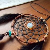 Small Dream Catcher for Car Rear View Mirror with Opalite and Turquoise // Hippie Boho Decor