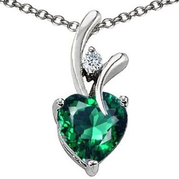 Star K Heart Shape 8mm Simulated Emerald Pendant Sterling Silver