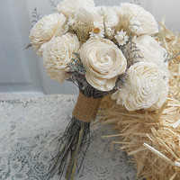 Elegant Country Bridal Bouquet, handmade of Sola Flowers & Wheat . Made to Order.