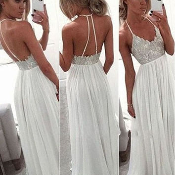 A-Line Backless White Chiffon Prom Dresses Evening Dresses