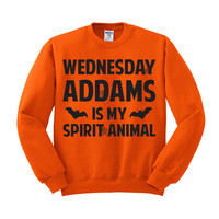 Crewneck - Wednesday Addams is my Spirit Animal - Sweater Jumper Pullover Funny Saying Phrase Slogan Quote Womens Ladies Outfit Oversized