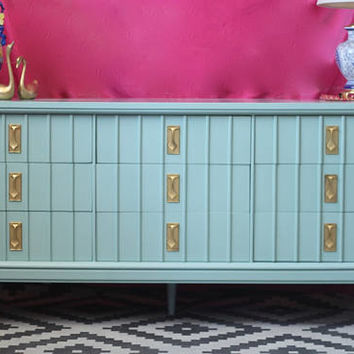Mid Century Dresser - Lacquered in Covington Blue - Ready to Ship!