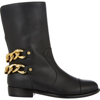 Chain-Embellished Moto Boots