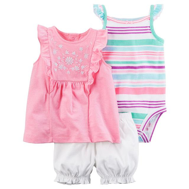 Image of Infant Girls Pink In The Sun 3 Piece Pants Set