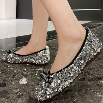 New comfortable flat flat sequined light mouth casual single shoe woman