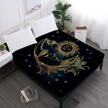 Cool Golden Moon Star Print Bed Sheets Mandala Fitted Sheets King Queen Crown Print Sheet Black Soft Mattress Cover Elastic Band D35AT_93_12