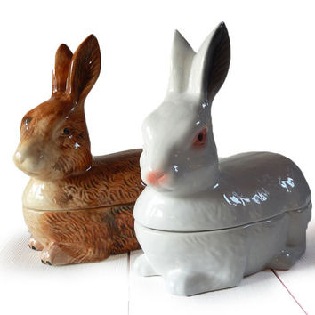 Nice Large French VINTAGE RABBIT Tureen Bunny Easter