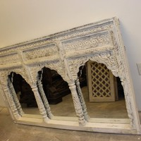 Antique Indian JHAROKHA Triple Arch Mirror Hand Carved Ivory White Vanity Mirror, Wall Hanging, Farmhouse Rustic Eclectic Decor