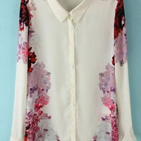 Chiffon Shirt with Rose Printing TKN657 from topsales
