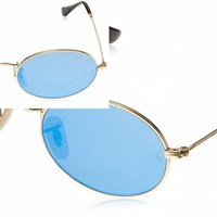 RAY-BAN OVAL FLAT SUNGLASSES RB3547N 001/Z2 GOLD/COPPER FLASH LENS 51MM