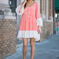 Free To Frolic Dress, Coral