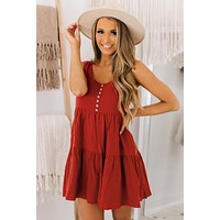 Country Cutie Button Top Dress (Rust)