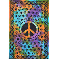 Tie Dye Peace Sign Tapestry Wall Hanging on RoyalFurnish.com