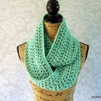 Ready To Ship Infinity Scarf Ocean Mint Women's Accessory Cowl Infinity Scarf