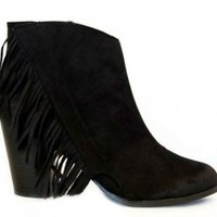 Tonto Fringe Booties (Black)