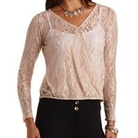 Long Sleeve Lace Wrap Top by Charlotte Russe