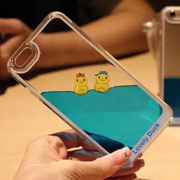 2017 Dynamic Flowing Liquid glitter Duck Transparent plastic back cover case for iphone 6 5 5S 5G 6 plus 5.5''/i6 4.7'' cases