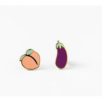 Peach and Eggplant Mismatched Emoji Stud Earrings | Cloisonné with 22 Karat Gold | In a Glass Gift Vial