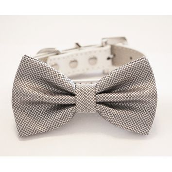 Silver Dog Bow Tie with high quality White leather collar- Chic Wedding pet bow tie , Wedding dog collar