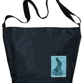 Large Cross-Body Tote Bag: Small Patch, Navy