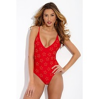 Bridget Beaded Deep V One Piece Swimsuit - Audrey Red Star Print