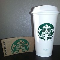 Starbucks Reusable Plastic Grande Coffee Tea Cup Tumbler Recyclable Mug New