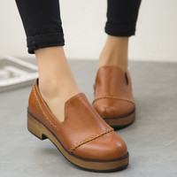 Summer England Style Vintage Round-toe With Heel Korean Casual Zippers Shoes [6366208452]