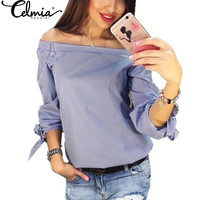 CELMIA Women Sexy Blouses 2017 Striped Slash Neck Long Sleeve Bowknot Shirts Off The Shoulder Casual Loose Tops Plus Size Blusas