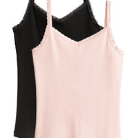 2-pack Lace-trimmed Tank Tops - from H&M