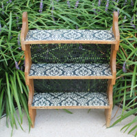 Wood spice rack with Damask pattern shelves and decorative sheet metal backing