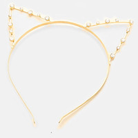 Gold Metal Rhinestone Cat Ear Headband