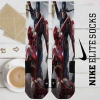 Captain America Civil War and Iron Man Battle Custom Nike Elite Socks