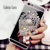 Bling Pearl brooch mirror phone case Back Cover For samsung G530 J5 J7 prime J1ACE J1 J2 J3 G360 2016 A5 A510 A7 A710 A8 G360